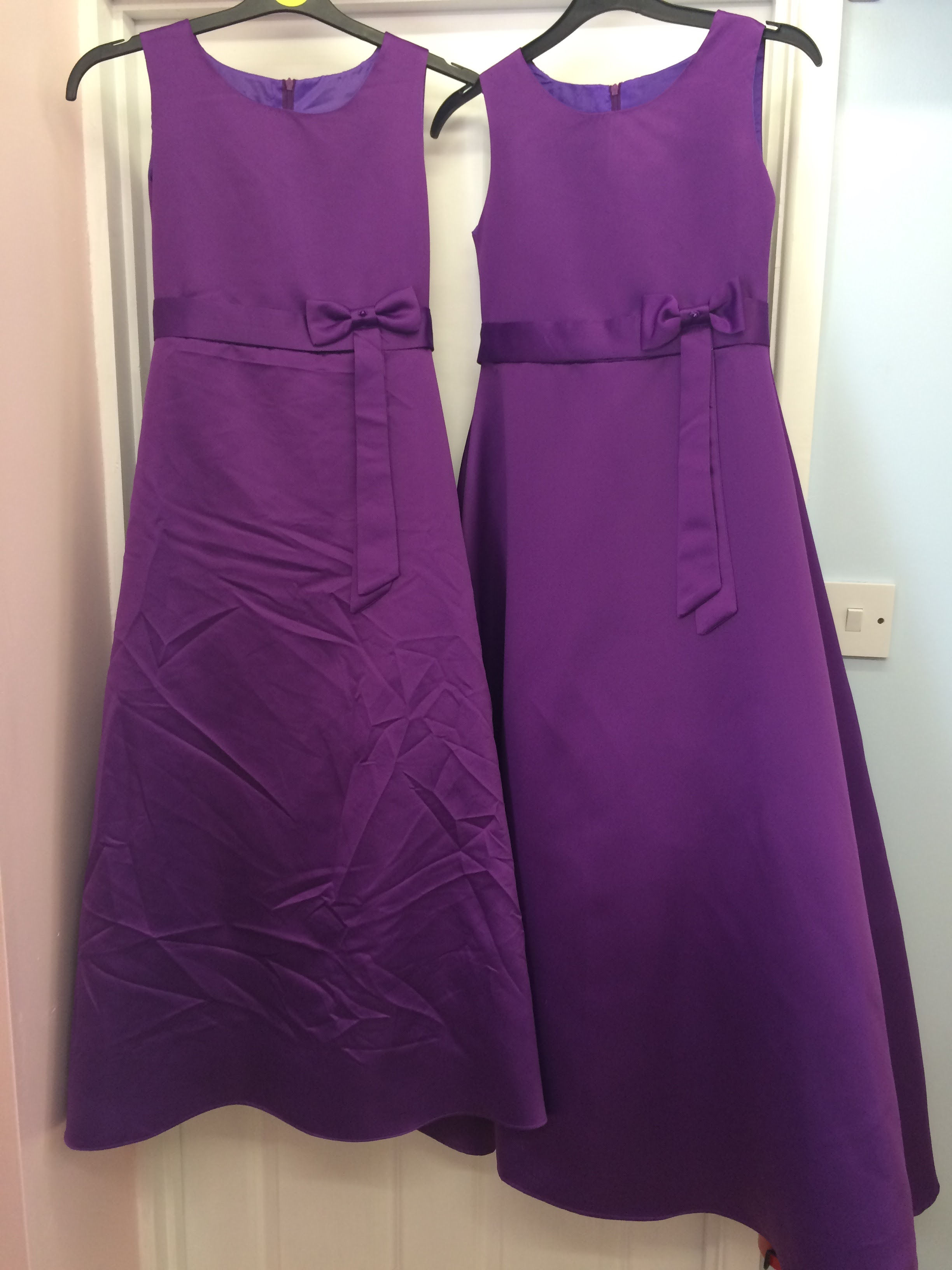 Steam pressed dresses, before and after